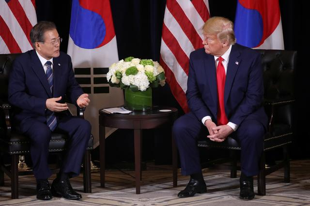 U.S. President Donald Trump holds a bilateral meeting with South Korea's President Moon Jae-in on the sidelines of the annual United Nations General Assembly in New York City, New York, U.S., September 23, 2019. REUTERS/Jonathan Ernst