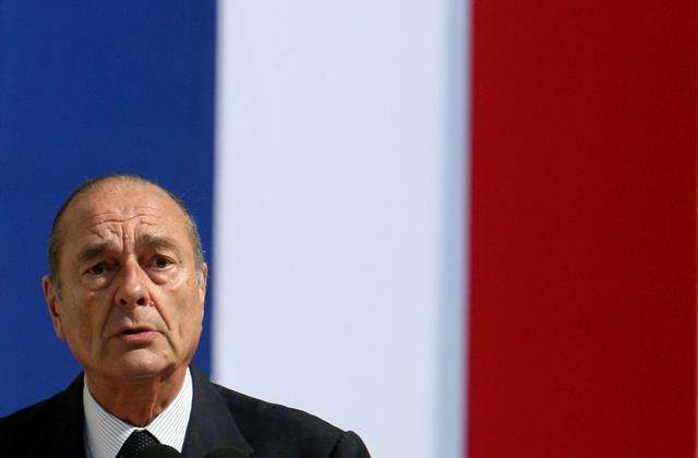 FILE PHOTO: France's President Jacques Chirac delivers a speech as he presides over a French citizen naturalization ceremony in Tours, France, June 29, 2006.  REUTERS/Philippe Wojazer/File Photo