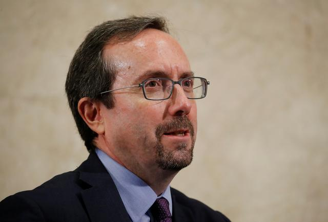 FILE PHOTO: John Bass, United States ambassador to Afghanistan attends a two-day conference on Afghanistan at the United Nations in Geneva, Switzerland, November 27, 2018.  REUTERS/Denis Balibouse