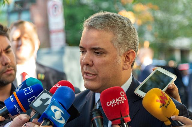 Colombia's President Ivan Duque announces the death of Luis Antonio Quintero, leader of the crime gang Los Pelusos, during statements to journalists in Washington, U.S., September 27, 2019. Courtesy of Colombian Presidency/Handout via REUTERS