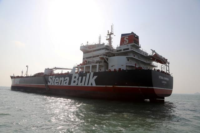 Stena Impero, a British-flagged vessel owned by Stena Bulk, which was seized by Iran's Revolutionary Guard, left Iran's Bandar Abbas port and heads to Port Rashid in Dubai, at Bandar Abbas, Iran September 27, 2019. FARS NEWS/WANA (West Asia News Agency) via REUTERS