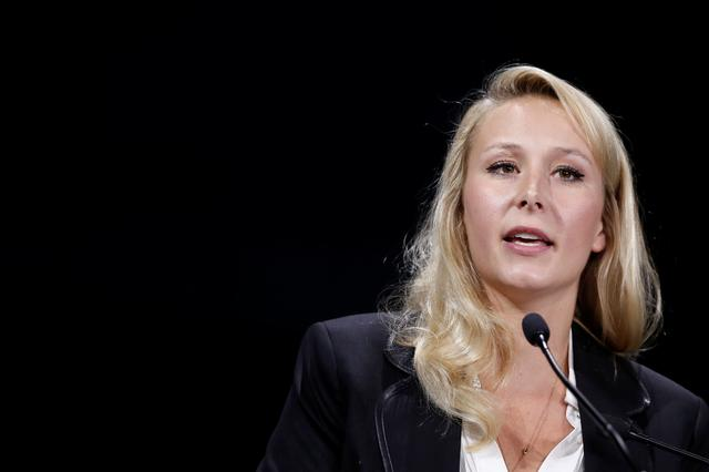 Marion Marechal, former far-right lawmaker delivers a speech during the Convention de la Droite meeting in Paris, France, September 28, 2019. REUTERS/Benoit Tessier