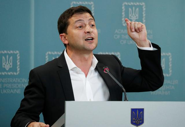 FILE PHOTO: Ukrainian President Volodymyr Zelenskiy speaks during a news conference in Kiev, Ukraine October 1, 2019. REUTERS/Valentyn Ogirenko