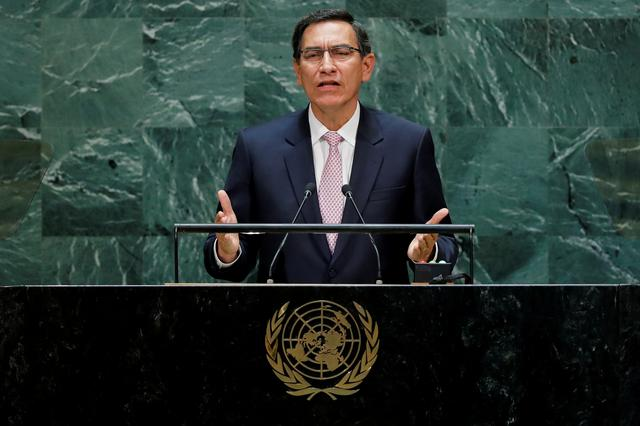 FILE PHOTO: Peru's President Martin Vizcarra Cornejo addresses the 74th session of the United Nations General Assembly at U.N. headquarters in New York City, New York, U.S., September 24, 2019. REUTERS/Eduardo Munoz/File Photo