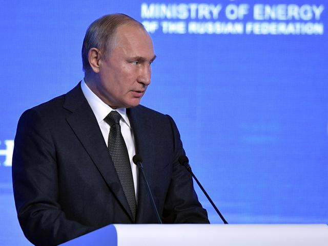 FILE PHOTO: Russian President Vladimir Putin attends the Energy Week International Forum in Moscow, Russia October 2, 2019. Sputnik/Alexei Nikolsky/Kremlin via REUTERS