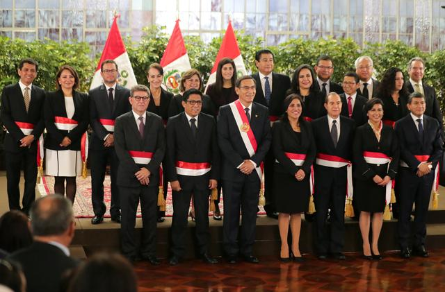 Peru's President Martin Vizcarra and newly appointed ministers pose for a picture during their swearing-in ceremony at the government palace in Lima, Peru October 3, 2019. REUTERS/Guadalupe Pardo