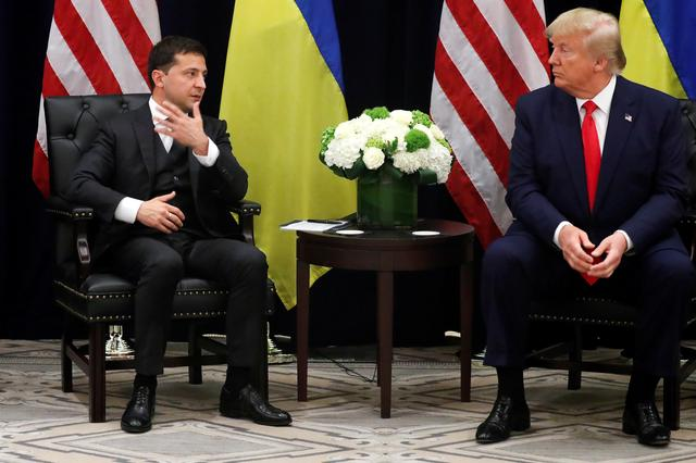 FILE PHOTO: Ukraine's President Volodymyr Zelenskiy speaks as he and U.S. President Donald Trump hold a bilateral meeting on the sidelines of the 74th session of the United Nations General Assembly (UNGA) in New York City, New York, U.S., September 25, 2019. REUTERS/Jonathan Ernst