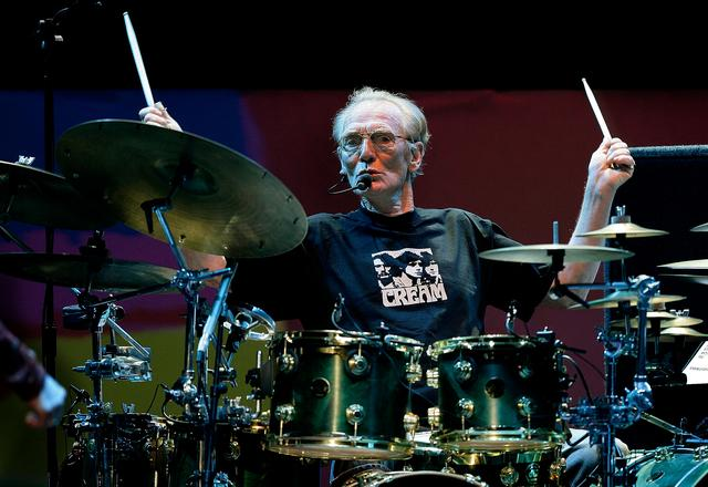 FILE PHOTO: Drummer Ginger Baker of the Legendary supergroup Cream performs during a concert at the Royal Albert Hall in London, Britain May 2, 2005.  REUTERS/Dylan Martinez