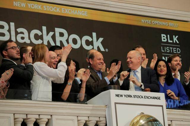 FILE PHOTO: Blackrock's Richard Prager rings the opening bell above the floor of the New York Stock Exchange (NYSE) in New York, U.S. May 31, 2019. REUTERS/Lucas Jackson/File Photo
