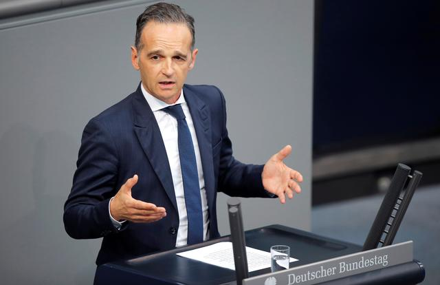 FILE PHOTO: German Foreign Minister Heiko Maas speaks during the budget debate in the Bundestag, the lower house of parliament in Berlin, Germany September 11, 2019.     REUTERS/Axel Schmidt