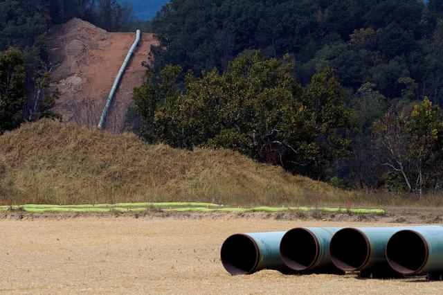 An unburied section of the under-construction Mountain Valley Pipeline near Elliston, Virginia, U.S. September 30, 2019.  REUTERS/Charles Mostoller