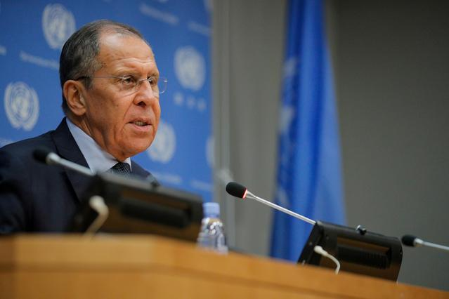 FILE PHOTO: Russian Foreign Minister Sergey Lavrov speaks during a news conference on the sidelines of the 74th session of the United Nations General Assembly at U.N. headquarters in New York, U.S., September 27, 2019.    REUTERS/Brendan McDermid