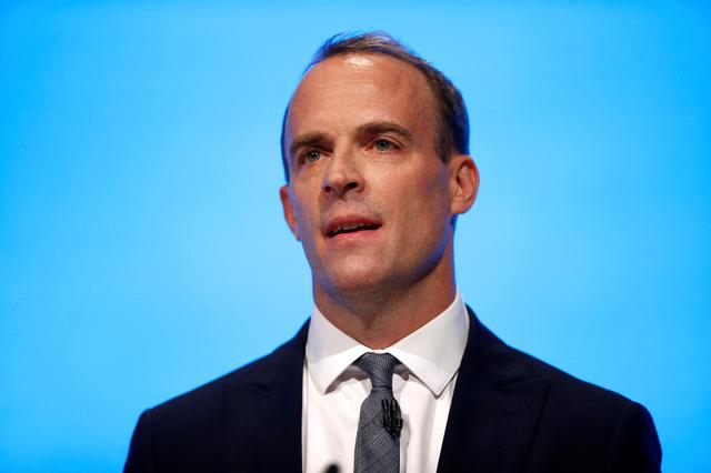 FILE PHOTO: Foreign Secretary Dominic Raab speaks during the Conservative Party in Manchester, Britain, September 29, 2019. REUTERS/Henry Nicholls