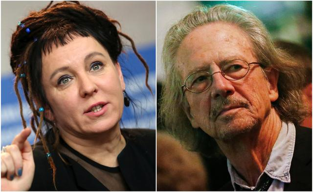 A combination of file photos shows Polish author Olga Tokarczuk attending a news conference to promote the movie 'Spoor' at the 67th Berlinale International Film Festival in Berlin, Germany, February 12, 2017 (L), and Austrian author and director Peter Handke receiving an art and culture award on occasion of his 70th birthday marked today in Salzburg, December 6, 2012. REUTERS/Michele Tantussi/Dominic Ebenbichler