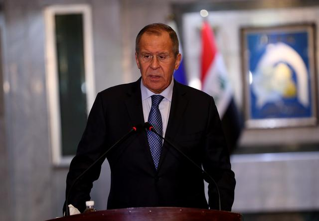 Russian Foreign Minister Sergei Lavrov speaks during a news conference with Iraq's Foreign Minister Mohammed Ali al-Hakim in Baghdad, Iraq October 7, 2019. REUTERS/Stringer