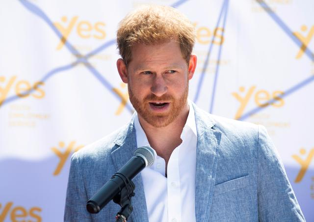 FILE PHOTO: Britain's Prince Harry, the Duke of Sussex, speaks at the Youth Employment Services (YES) Hub as he and his wife Meghan, the Duchess of Sussex, visit a township in Johannesburg, South Africa, October 2, 2019. Facundo Arrizabalaga/File Photo