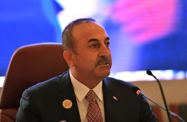 FILE PHOTO: Foreign Minister of Turkey Mevlut Cavusoglu speaks during a preparatory meeting for the GCC, Arab and Islamic summits in Jeddah, Saudi Arabia, May 29, 2019.  REUTERS/Waleed Ali