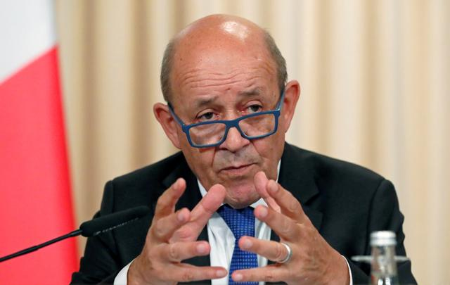 FILE PHOTO: French Foreign Minister Jean-Yves Le Drian gestures as he speaks after a meeting of the Russian-French Security Cooperation Council in Moscow, Russia, September 9, 2019.  REUTERS/Shamil Zhumatov/File Photo