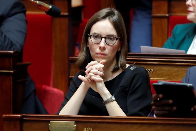 FILE PHOTO: Member of parliament Amelie de Montchalin of La Republique en Marche (Republic on the Move or LREM) political party attends the questions to the government session at the National Assembly in Paris, France, October 24, 2017. REUTERS/Charles Platiau