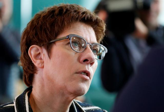 FILE PHOTO: German Defence Minister Annegret Kramp-Karrenbauer attends the weekly cabinet meeting in Berlin, Germany, September 18, 2019.    REUTERS/Fabrizio Bensch
