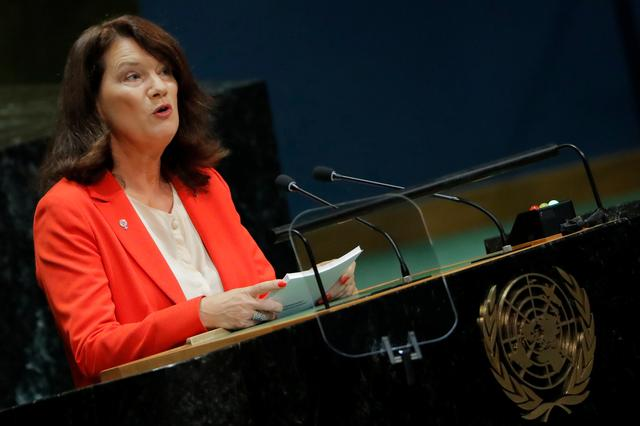 FILE PHOTO: Foreign Minister of Sweden Ann Linde addresses the 74th session of the United Nations General Assembly at U.N. headquarters in New York City, New York, U.S., September 28, 2019.  REUTERS/Brendan McDermid