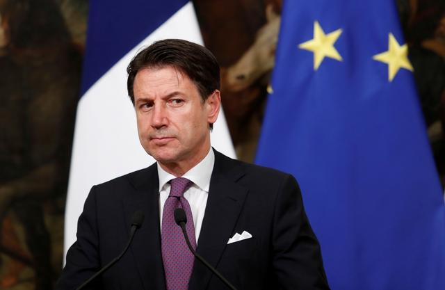 FILE PHOTO: Italian Prime Minister Giuseppe Conte addresses the media ahead of a working dinner with French President Emmanuel Macron, in Rome, Italy September 18, 2019. REUTERS/Remo Casilli/File Photo