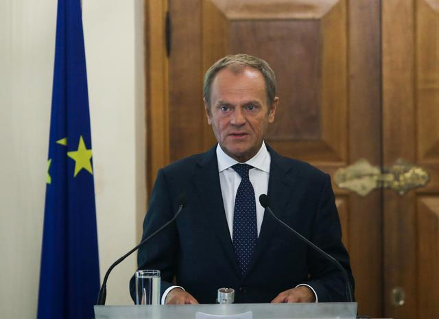European Council, President Donald Tusk attends a news conference at the Presidential Palace in Nicosia, Cyprus October 11, 2019. REUTERS/Yiannis Kourtoglou/Pool