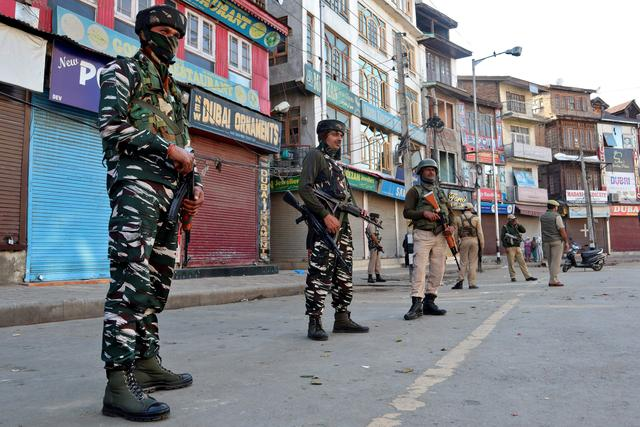 Indian security force personnel stand guard after a grenade attack in Srinagar October 12, 2019. REUTERS/Shakeel-ur-Rehman