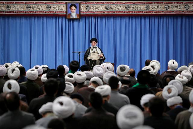 FILE PHOTO: Iran's Supreme Leader Ayatollah Ali Khamenei gives a speech to a group of scholars and seminary students of religious sciences in Tehran, Iran September 17, 2019. Official Khamenei website/Handout via REUTERS