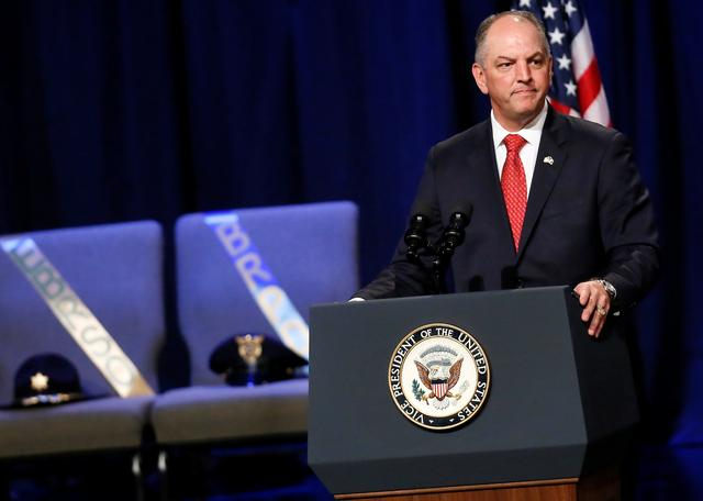FILE PHOTO: Louisiana Governor John Bel Edwards speaks during a memorial service for three slain Baton Rouge police officers at Healing Place Church in Baton Rouge, Louisiana, U.S. July 28, 2016.  REUTERS/Jonathan Bachman