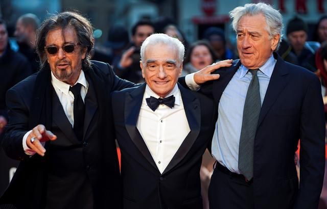 "Director Martin Scorsese and cast members Al Pacino and Robert De Niro arrive for the screening of ""The Irishman"" during the 2019 BFI London Film Festival at the Odeon Luxe Leicester Square in London, Britain October 13, 2019. REUTERS/Henry Nicholls"