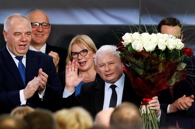 Poland's ruling party Law and Justice (PiS) leader Jaroslaw Kaczynski waves after the exit poll results are announced in Warsaw, Poland, October 13, 2019. REUTERS/Kacper Pempel