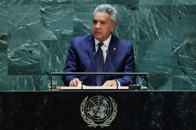 FILE PHOTO: Ecuador's President Lenin Moreno Garces addresses the 74th session of the United Nations General Assembly at U.N. headquarters in New York City, New York, U.S., September 25, 2019. REUTERS/Eduardo Munoz