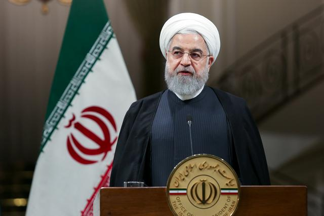 Iranian President Hassan Rouhani speaks during press conference with Pakistani Prime Minister Imran Khan in Tehran, Iran, October 13, 2019. Official Presidential website/Handout via REUTERS
