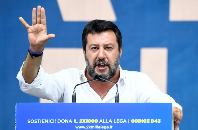 FILE PHOTO: League party leader Matteo Salvini gestures as he gives a speech during a rally in Pontida, Italy, September 15, 2019. REUTERS/Flavio Lo Scalzo/File Photo