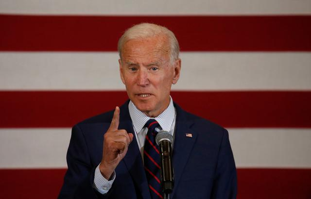 Democratic 2020 U.S. presidential candidate and former Vice President Joe Biden speaks at a campaign town hall meeting in Manchester, New Hampshire, U.S., October 9, 2019.   REUTERS/Mary Schwalm