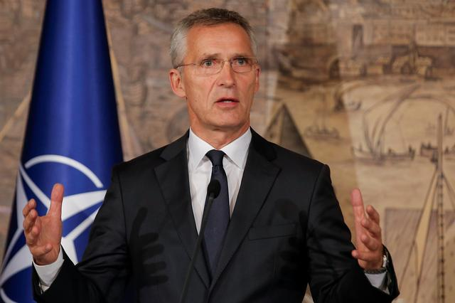 NATO Secretary-General Jens Stoltenberg attends a news conference in Istanbul, Turkey, October 11, 2019. REUTERS/Huseyin Aldemir