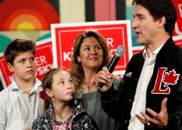 Liberal leader and Canadian Prime Minister Justin Trudeau, his wife Sophie Gregoire Trudeau, their son Xavier and their daughter Ella-Grace attend an election campaign visit to Hamilton, Ontario, Canada October 14, 2019. REUTERS/Stephane Mahe