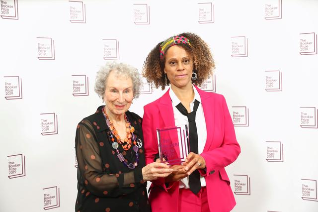 Margaret Atwood poses with Bernardine Evaristo with their Booker Prize for Fiction 2019 at the Guildhall in London, Britain October 14, 2019. REUTERS/Simon Dawson