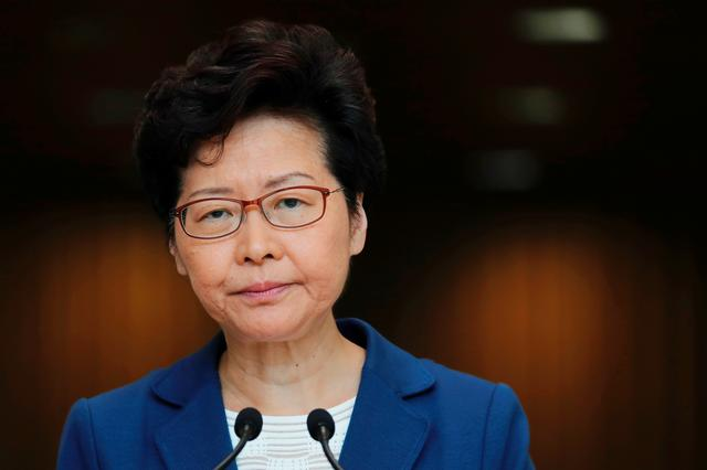 Hong Kong Chief Executive Carrie Lam speaks during a news conference in Hong Kong, China, October 8, 2019. REUTERS/Tyrone Siu
