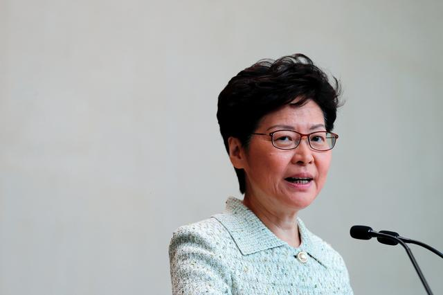 Hong Kong Chief Executive Carrie Lam speaks to journalists before a weekly Executive Council meeting in Hong Kong, China, October 15, 2019. REUTERS/Tyrone Siu