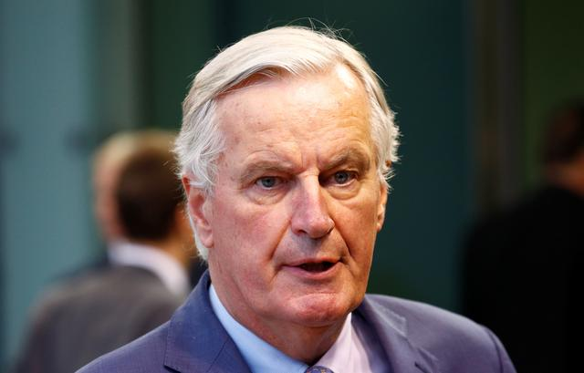 EU's Chief Brexit Negotiator Michel Barnier talks to the media as he arrives to take part in General Affairs council addressing the state of play of Brexit, in Luxembourg October 15, 2019.  REUTERS/Francois Lenoir