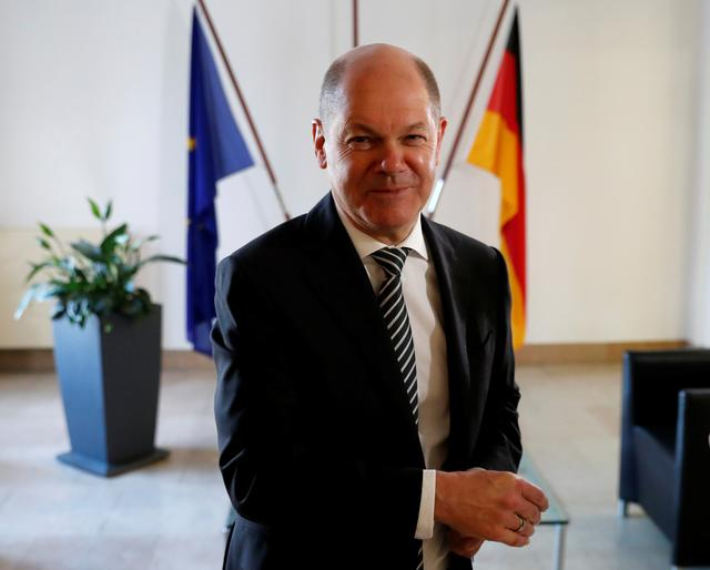 German Finance Minister Olaf Scholz is pictured in his office during an interview with Reuters in Berlin, Germany, October 15, 2019.     REUTERS/Fabrizio Bensch
