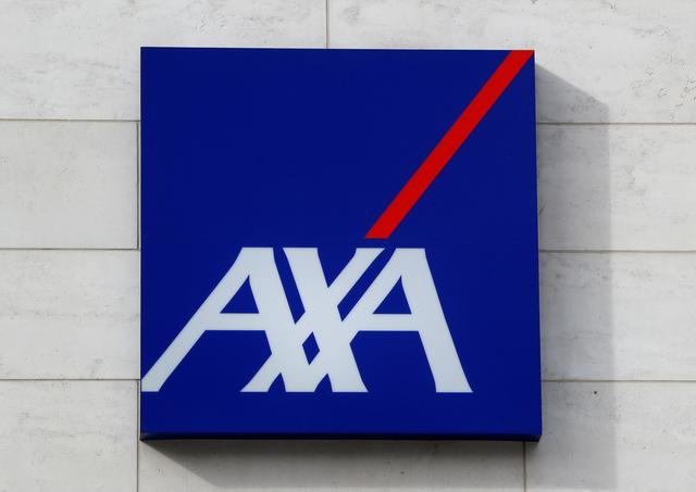 FILE PHOTO: A logo of insurer Axa is seen at the entrance of the company's headquarters in Brussels, Belgium March 5, 2018. REUTERS/Yves Herman/File Photo