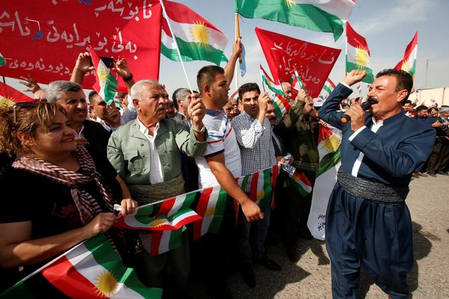 Iraqi Kurds protest against the Turkish offensive against Syria during a demonstration outside the United Nations building in Erbil, Iraq October 12, 2019. REUTERS/Azad Lashkari