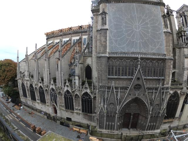 A view shows the Notre Dame Cathedral, as work continues to stabilise the cathedral's structure six months after a fire caused significant damage, in Paris, France, October 15, 2019.  REUTERS/Charles Platiau