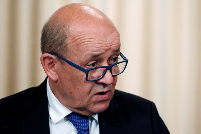FILE PHOTO: French Foreign Minister Jean-Yves Le Drian speaks after a meeting of the Russian-French Security Cooperation Council in Moscow, Russia, September 9, 2019.  REUTERS/Shamil Zhumatov