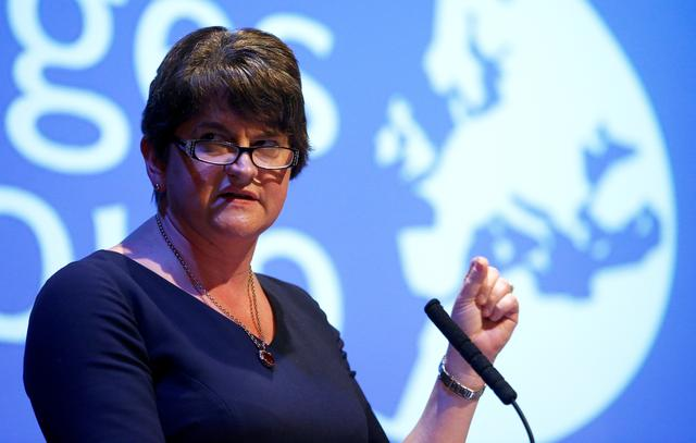 FILE PHOTO: DUP leader Arlene Foster speaks at a Bruges Group event during the Conservative Party annual conference in Manchester, Britain, September 30, 2019. REUTERS/Henry Nicholls