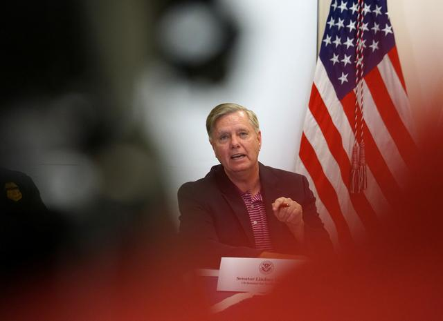 FILE PHOTO: U.S. Senator Lindsey Graham speaks during the roundtable with U.S. Border Patrol and members of the Senate Judiciary Committee at a Border Patrol station in McAllen, Texas, U.S. July 12, 2019.  REUTERS/Veronica G. Cardenas