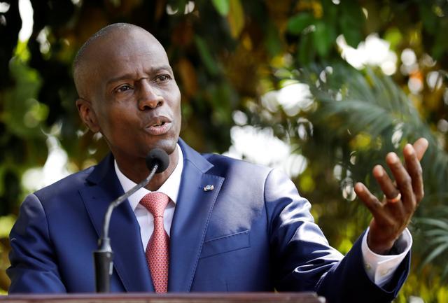 Haiti's President Jovenel Moise addresses the media in Port-au-Prince, Haiti October 15, 2019. REUTERS/Andres Martinez Casares